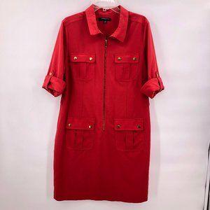 Sharagano red  zip up dress
